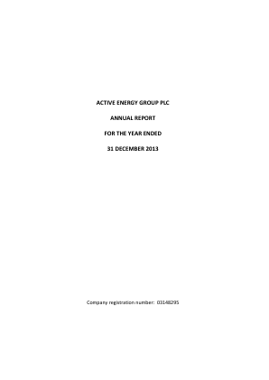Active Energy Group Plc annual report 2013