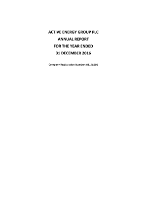 Active Energy Group Plc annual report 2016