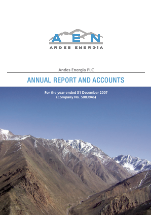Phoenix Global Resources (previously Andes Energia) annual report 2007
