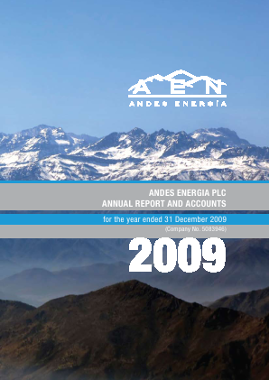 Phoenix Global Resources (previously Andes Energia) annual report 2009