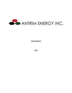 Antrim Energy Inc annual report 2015