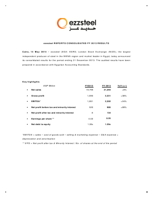 EZZ Steel annual report 2013