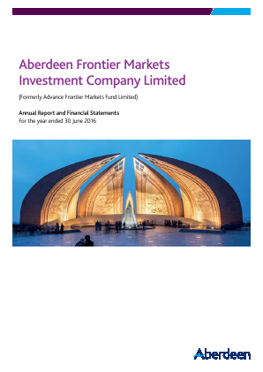 Aberdeen Frontier Markets Investment Company (Previously Advance Frontier Markets Fund) annual report 2016