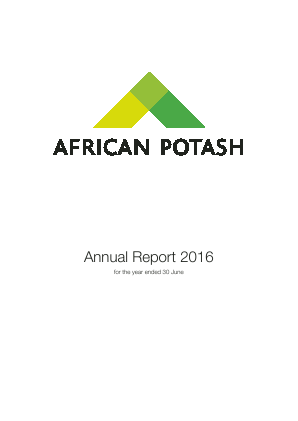 African Potash Limited annual report 2016