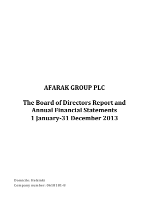 Afarak Group Plc annual report 2013