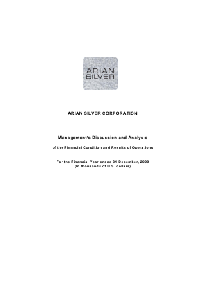 Arian Silver Corp annual report 2009