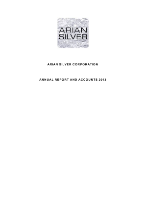 Arian Silver Corp annual report 2013