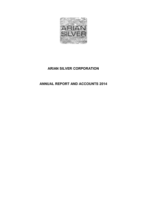 Arian Silver Corp annual report 2014