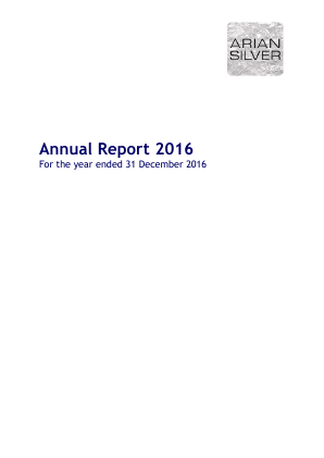 Arian Silver Corp annual report 2016