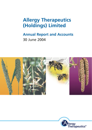 Allergy Therapeutics annual report 2004
