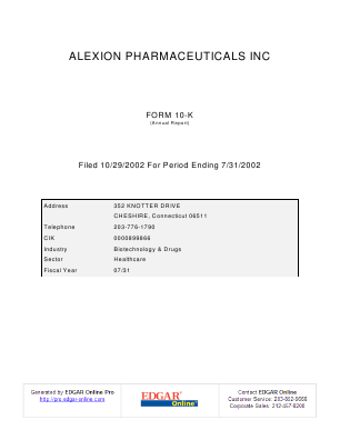 Alexion Pharmaceuticals Incorporated annual report 2001