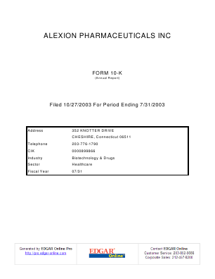 Alexion Pharmaceuticals Incorporated annual report 2002