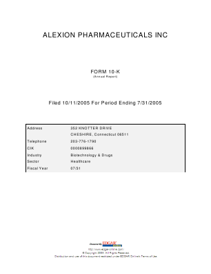 Alexion Pharmaceuticals Incorporated annual report 2004