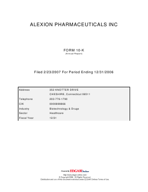 Alexion Pharmaceuticals Incorporated annual report 2006
