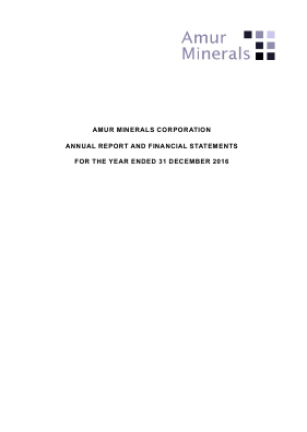 Amur Minerals Corp annual report 2016