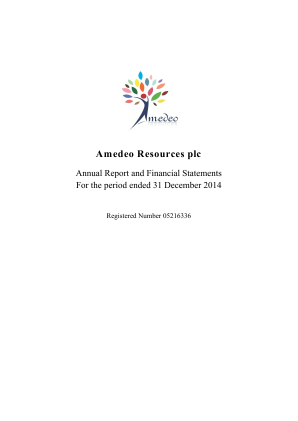 Amedeo Resources Plc annual report 2014