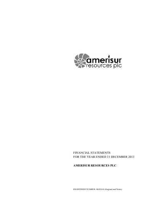 Amerisur Resources Plc annual report 2013