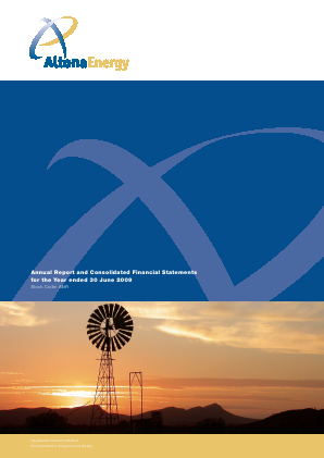 Altona Energy Plc annual report 2009