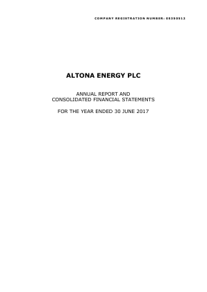 Altona Energy Plc annual report 2017