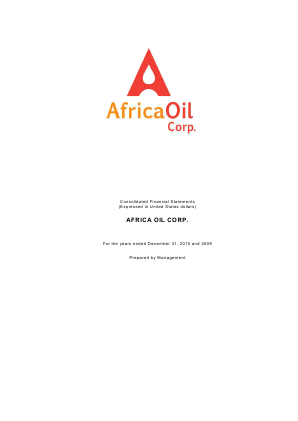 Africa Oil annual report 2010