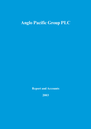 Anglo Pacific Group annual report 2003