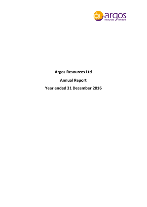 Argos Resources Ltd annual report 2016