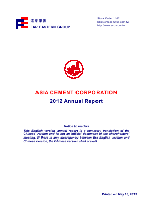 Asia Cement Corp annual report 2012
