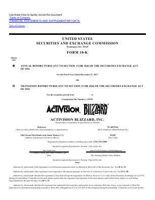 Activision Blizzard Incorporated annual report 2017