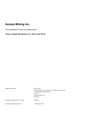 Avesoro Resources (formally Aureus Mining) annual report 2013