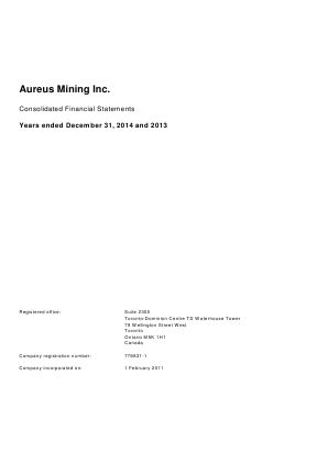 Avesoro Resources (formally Aureus Mining) annual report 2014