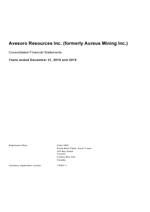Avesoro Resources (formally Aureus Mining) annual report 2016
