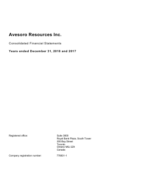 Avesoro Resources (formally Aureus Mining) annual report 2018