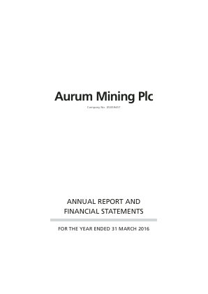 Shearwater Group (Previously Aurum Mining) annual report 2016