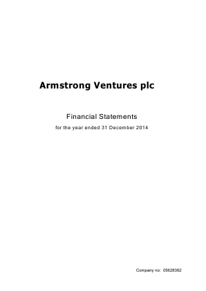 EVR Holdings plc (formally Armstrong Ventures Plc) annual report 2014
