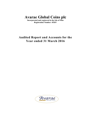 Avarae Global Coins Plc annual report 2016