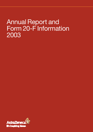 AstraZeneca annual report 2003
