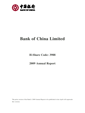 Bank of China annual report 2009