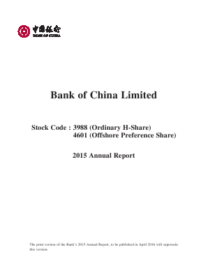 Bank of China annual report 2015