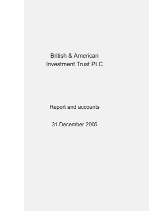 British & American Investment Trust annual report 2005