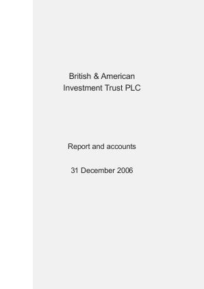 British & American Investment Trust annual report 2006