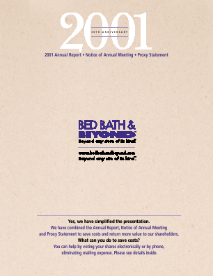 Bed Bath & Beyond Inc. annual report 2001
