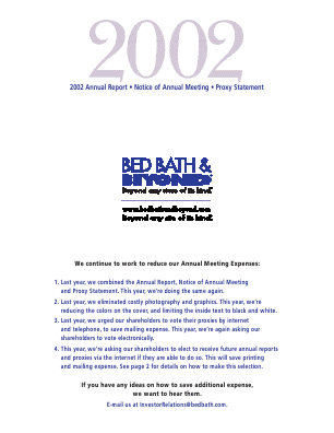 Bed Bath & Beyond Inc. annual report 2002