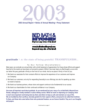 Bed Bath & Beyond Inc. annual report 2003