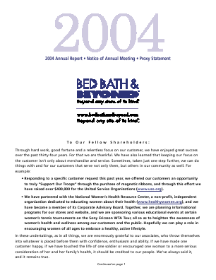 Bed Bath & Beyond Inc. annual report 2004