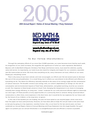 Bed Bath & Beyond Inc. annual report 2005