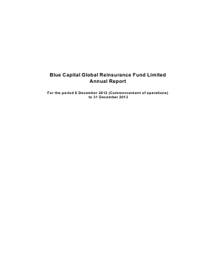 Blue Capital Alternative Income Fund (formally Blue Capital Global Reinsurance Fund) annual report 2013