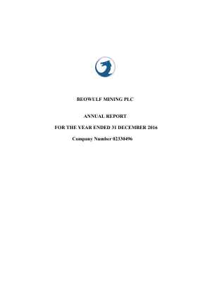 Beowulf Mining annual report 2016