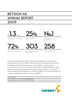 Betsson annual report 2009