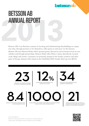 Betsson annual report 2013