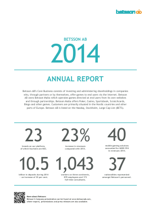 Betsson annual report 2014